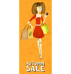 Caucasian shopping girl character vector