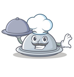 Chef with food tray character cartoon style vector