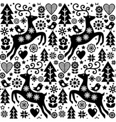 Christmas folk style seamless pattern scan vector