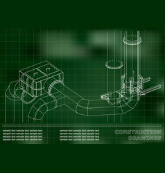 construction drawings 3d metal construction pipes vector image vector image