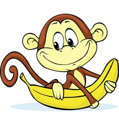 cute monkey hold banana - vector image