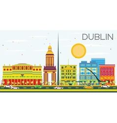 Dublin skyline with color buildings and blue sky vector