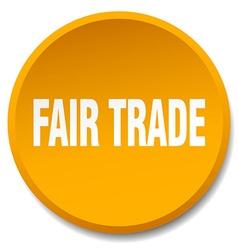 Fair trade orange round flat isolated push button vector