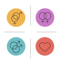 Gender symbols color icons set vector image