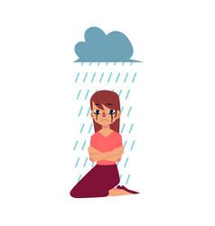Grief depression - woman sitting under rain cloud vector
