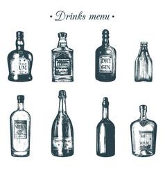 Hand sketched bottles of alcoholic beverages rum vector