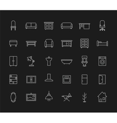 House furniture linear icons set chalk vector