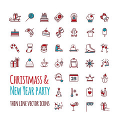 icons set - winter christmas holiday vector image vector image