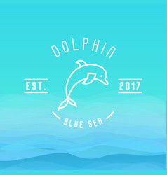 Logo with thin line icon of dolphin jumping vector