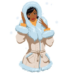 mulatta in winter clothes vector image