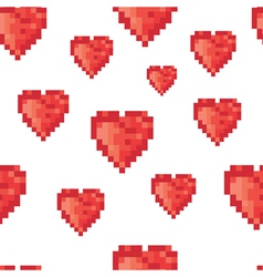 pixel hearts pattern vector image