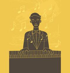 Retro art of a pianist vector