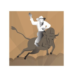 Rodeo cowboy bull riding retro vector
