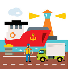 Sea port cargo and shipping flat style vector