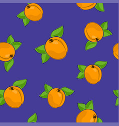 Seamless pattern apricot on purple background vector