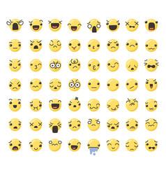 set of cute lovely kawaii emoticon vector image vector image
