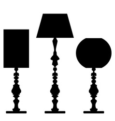 Set of lamp silhouettes vector image