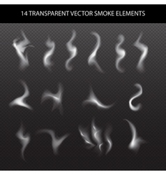 Set of transparent smoke on a plaid background vector