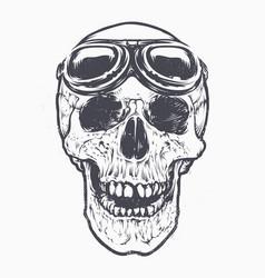 skull racer art vector image vector image