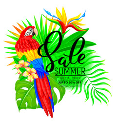 Summer sale bright composition with parrot vector