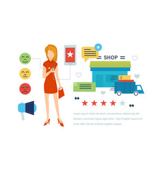 testimonials shopping feedback mobile app vector image