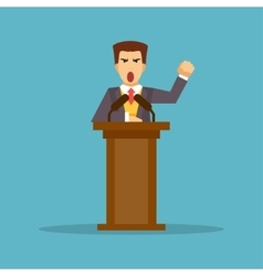 The speaker stands behind the podium vector image vector image