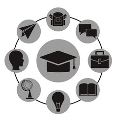 White background with monochrome graduation cap vector