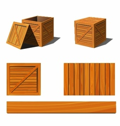 wooden box vector image vector image