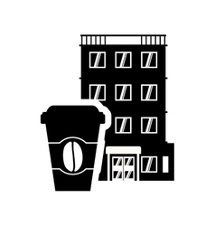 Coffee mug hotel building silhouette design vector