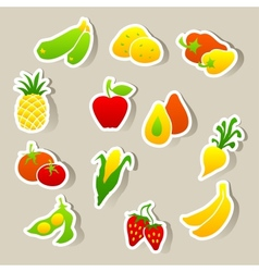 Set of fruit and vegetables stickers vector