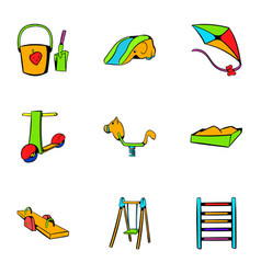 Children holiday icons set cartoon style vector