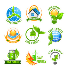 Eco green energy icon set for ecology design vector