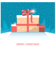 Christmas present gifts on winter snow landscape vector