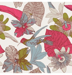 Seamless tropical floral pattern vector