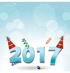 2017 party hats and confetti background vector image vector image