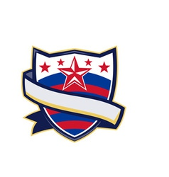 Shield with stars and stripes ribbon vector