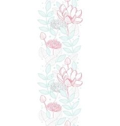 Modern line art florals vertical border vector