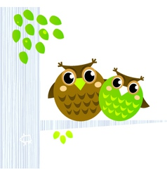 owls sitting on the branch vector image