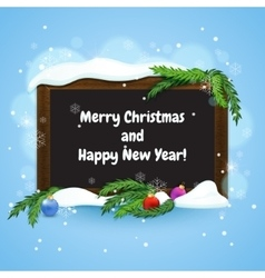 Christmas greeting card blackboard in wooden vector