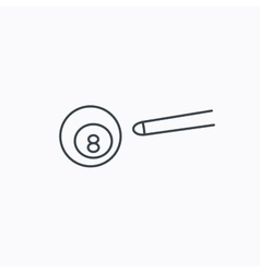 Billiard ball icon cue sports sign vector