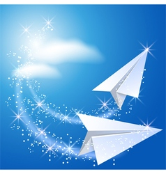 Two paper airplane vector