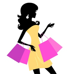 Shopping retro girl vector image