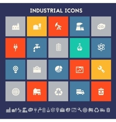 Industrial icons Multicolored square flat buttons vector image