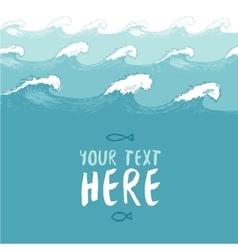 Blue waves background summer sea banner vector image