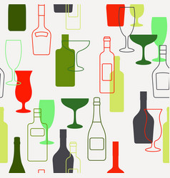 alcohol bottles and glasses pattern vector image vector image