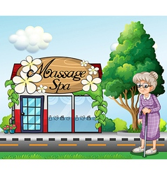 An old woman outside the massage spa parlor vector