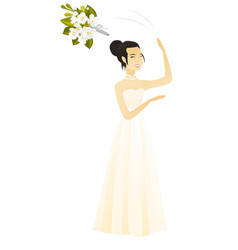 Asian bride tossing a bouquet of flowers vector