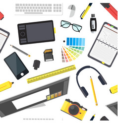 cartoon designer workplace background pattern vector image vector image