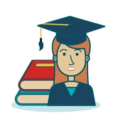 cartoon girl student graduation book graphic vector image