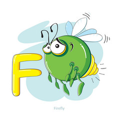 Cartoons alphabet - letter f with funny firefly vector